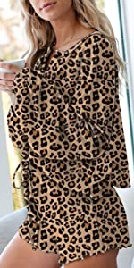 Women Button Nightshirt Shorts Jersey Pajamas 2 Piece Sleepwear Leoparded