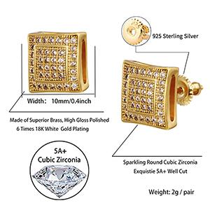 Shiny Cubic Zirconia Square Stud Earring