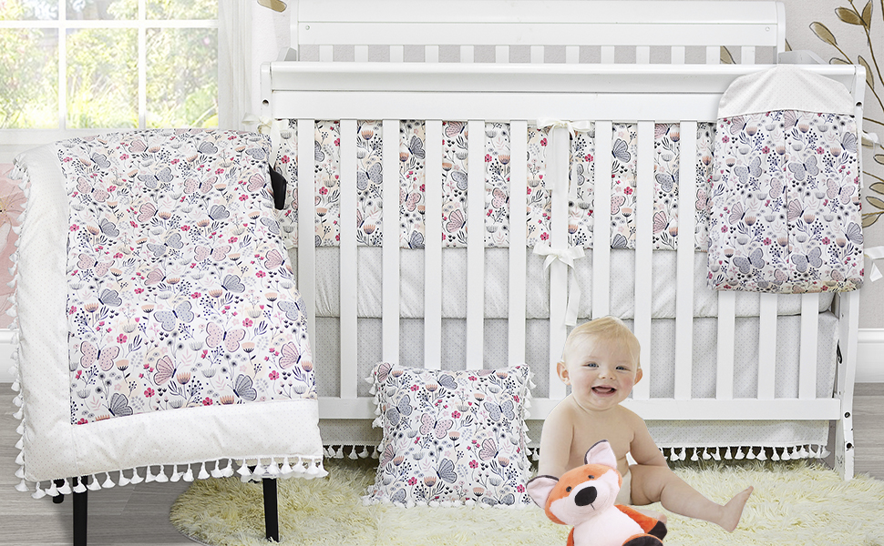baby girl nursery bedding with pink floral