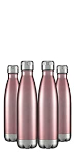 17oz Insulated Stainless Steel Water Bottle 4 Packs Wholesale in Bulk Rose Gold