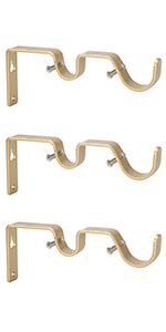 Ycolnaefllr Set of 3 Golden Double Curtain Rod Brackets