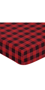 Woodland Buffalo Plaid Boy Fitted Crib Sheet Baby or Toddler Bed Nursery - Red and Black