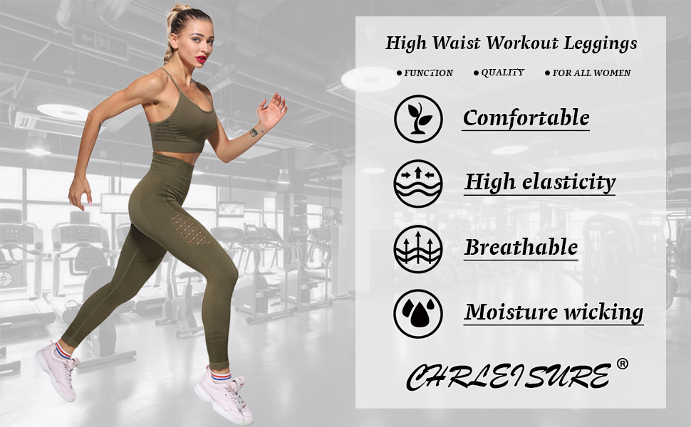 High Waisted Workout Leggings Running Athletic Compression Yoga Pants CHRLEISURE Womens Seamless Gym Leggings