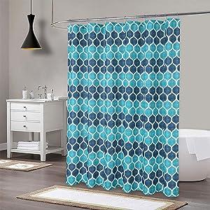blue shower curtian