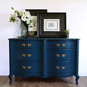 navy blue dresser furniture paint chalk clay diy home decor upcycle craft french provincial