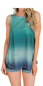 Tie Dye Print Sleeveless Shirts Blouse Pocket Casual Loose Tank Tops