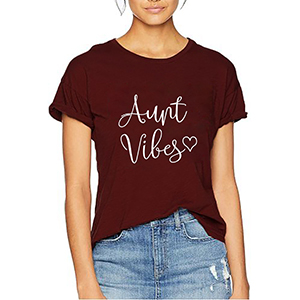 Aunt Vibes Shirt Auntie Shirts for Women Auntie Shirts Cute Aunt Gifts Tee Shirts Letter Print Tee