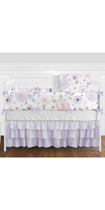 Lavender Purple, Pink, Grey and White Shabby Chic Watercolor Floral Baby Girl Nursery Crib Bedding