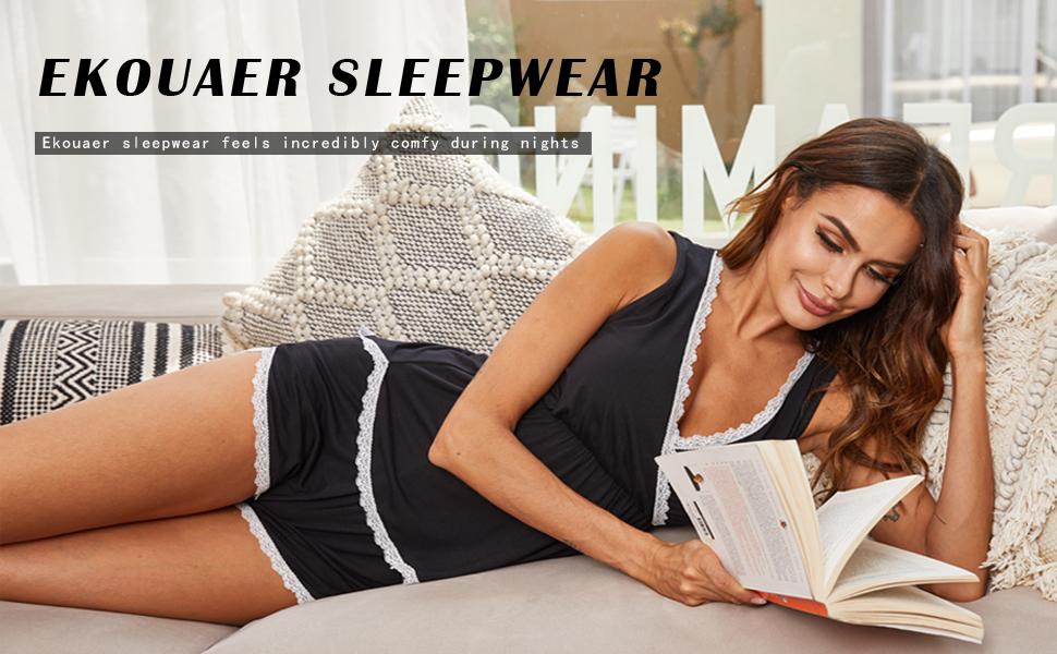 ekouaer pajama set v neck sleepwear set with lace tirm v neck pj set for women