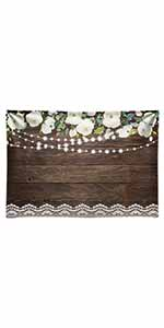 Floral Rustic Wedding Lace Wooden Board Floor Background
