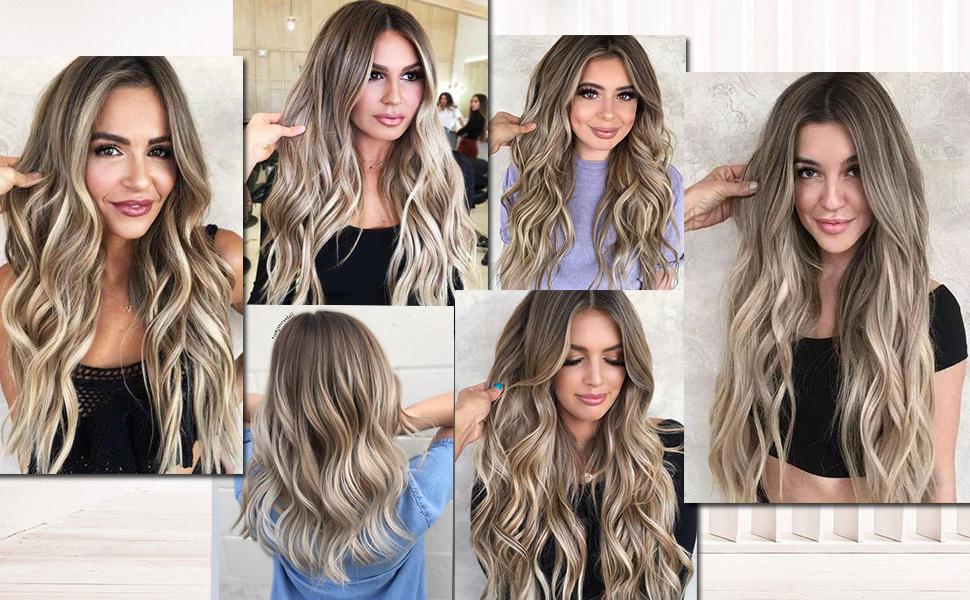 balayage brown mixed blonde human hair extensions