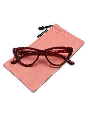 trendy glitter cat eye reading glasses for women ruby red color