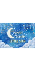 Blue Gold Twinkle Twinkle Little Star Toddlers Night Moon Sky Backdrops 5x3ft