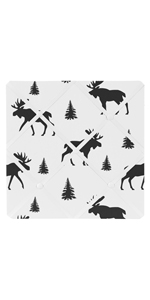 Black and White Woodland Moose Fabric Memory Memo Photo Bulletin Board for Rustic Patch Collection