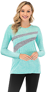 mint round neck active shirts long sleeve for women