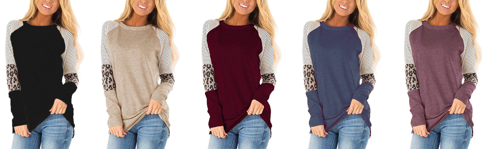 long sleeve leopard stripe tee shirts