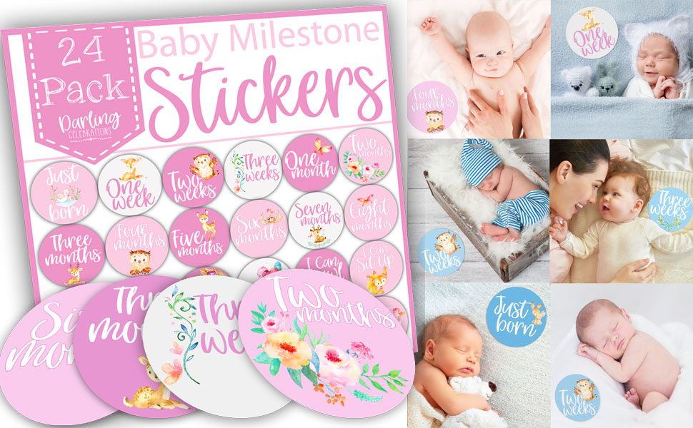 baby milestone stickers for girls, pink baby weekly stickers, baby monthly stickers, baby milestones