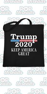Donald Trump 2020 Pro Trump MAGA Merchandise USA Large Canvas Tote Bag Women