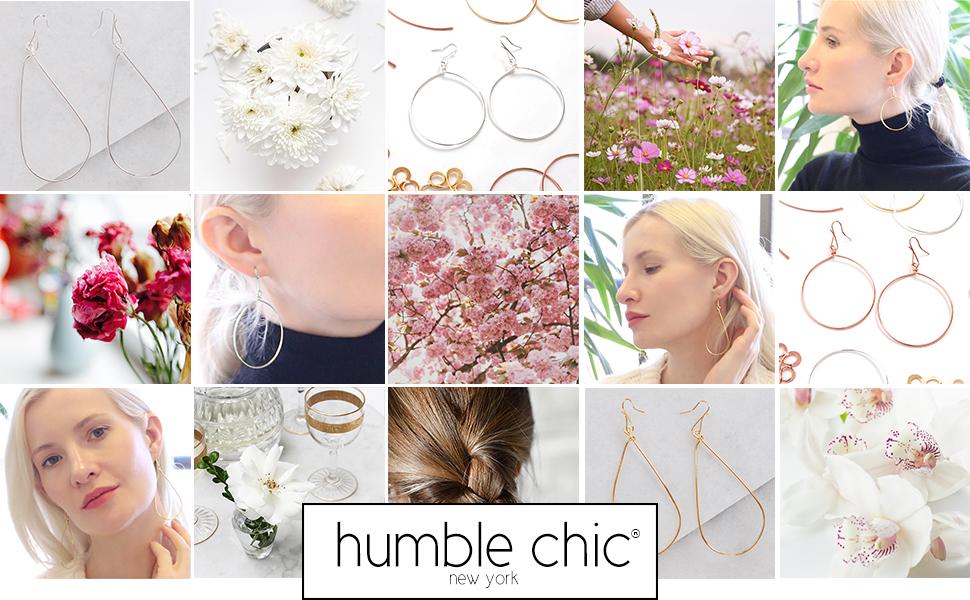 Humble Chic Dangle Earrings for Women - Long Geometric Dangling Hook Hanging Drops - Hypoallergenic