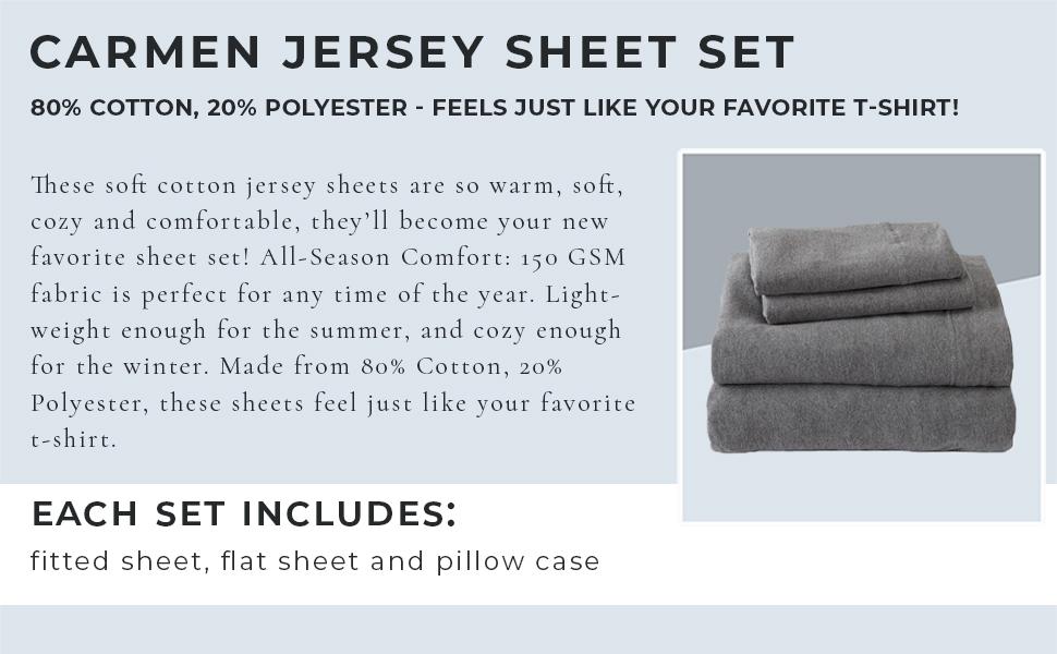 Carmen Cotton Jersey Sheet Set