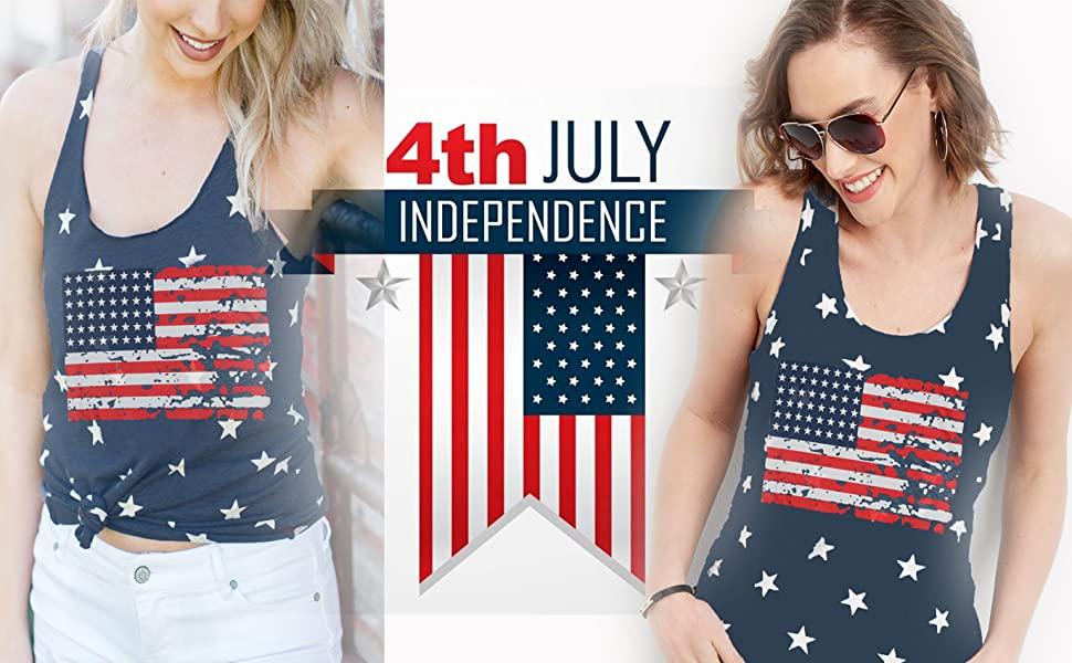 American Flag Print Tee Shirt