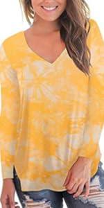 V Neck Long Sleeve Tie Dye Basic Casual Loose T-Shirt Tops Tee