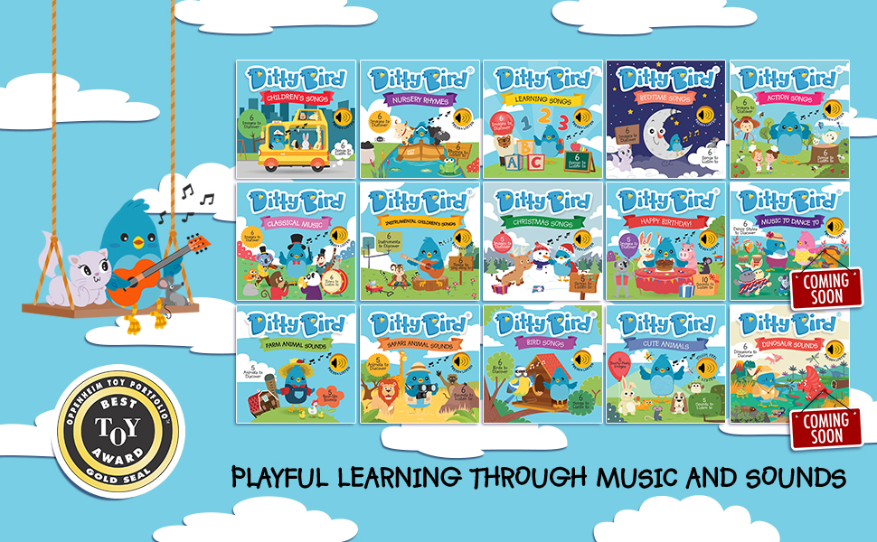ditty bird children's books, gifts for one year old, musical books