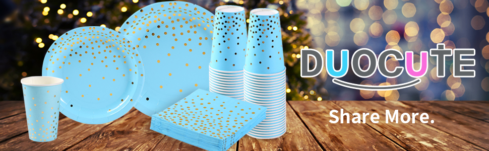 blue and gold party supplies plates cups napkins