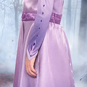 elsa costume closeup, movie hero, colorful ombre, blue dress, blonde braided wig
