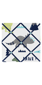 Blue and Green Modern Dinosaur Fabric Memory/Memo Photo Bulletin Board
