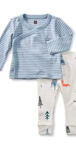 Wrap Top Baby Outfit, Tourmaline, Blue Stripe Top & White Pants, Forest Designs