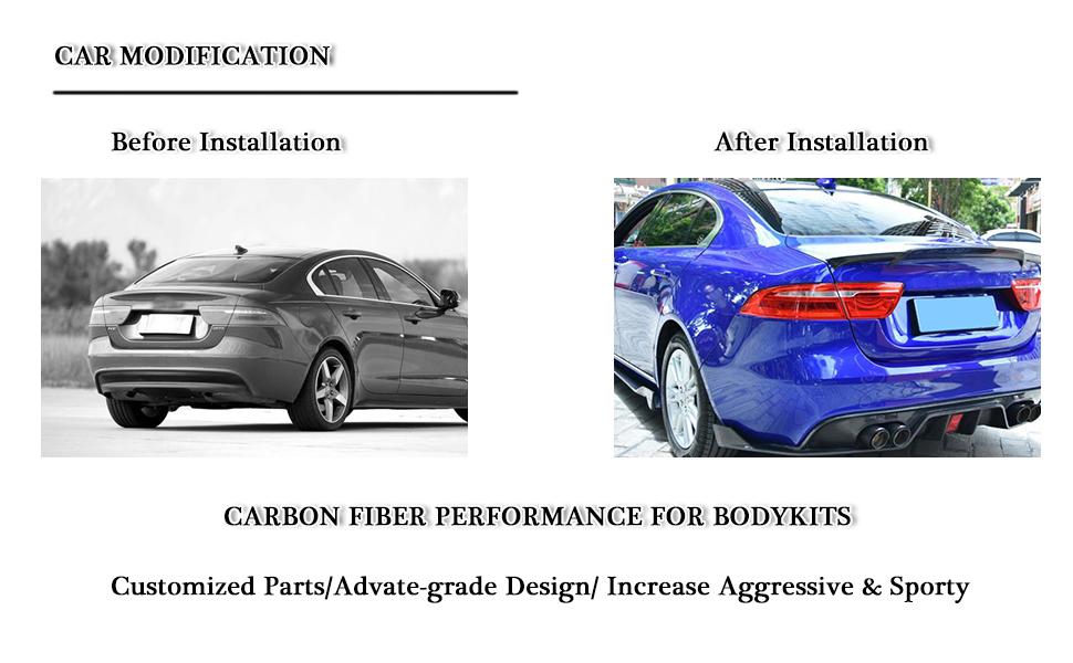 Carbon Fiber Rear Trunk Spoiler Compatible with Jaguar XE Sedan 2015 2016 2017