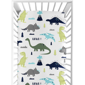 Fitted Crib Sheet for Blue and Green Modern Dinosaur Baby/Toddler Set Collection - Dinosaur Print