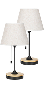 Wood black table lamp