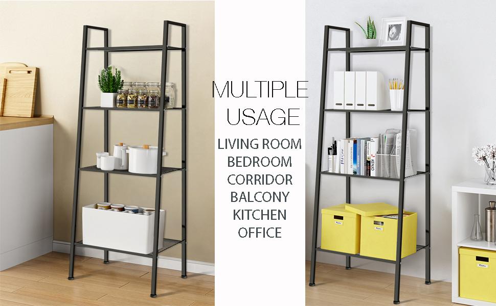 Ladder Shelf 4-Tier Bookshelf Plant Flower Stand Storage Rack Industrial Organizer Modern Shelves