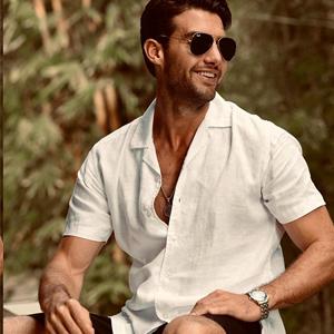 linen shirt men short sleeve