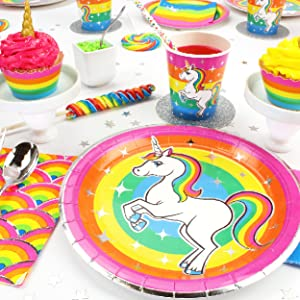 Silver Lining Rainbow Unicorn Birthday Party Place Setting with Paper plates cups napkins LGBTQ