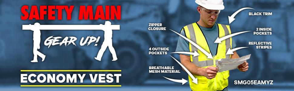 economy vest, safety vest, reflective vest, constructions vest, hi viz, high visibility