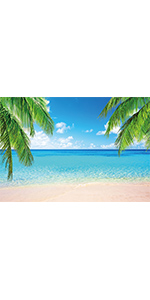 Summer Tropical Beach Photography Backdrop Seaside Island White Clouds Party 5x3