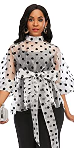 Women's Stand Collar Polka Dot See Through Front Tie Peplum Blouse
