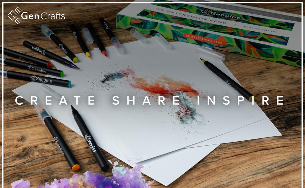 watercolor brush pens, set of 50