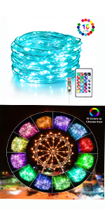 100 Led USB plug in Silver Wire Color Changing Fairy Lights - 16 Vibrant Colors indoor outdoor fairy
