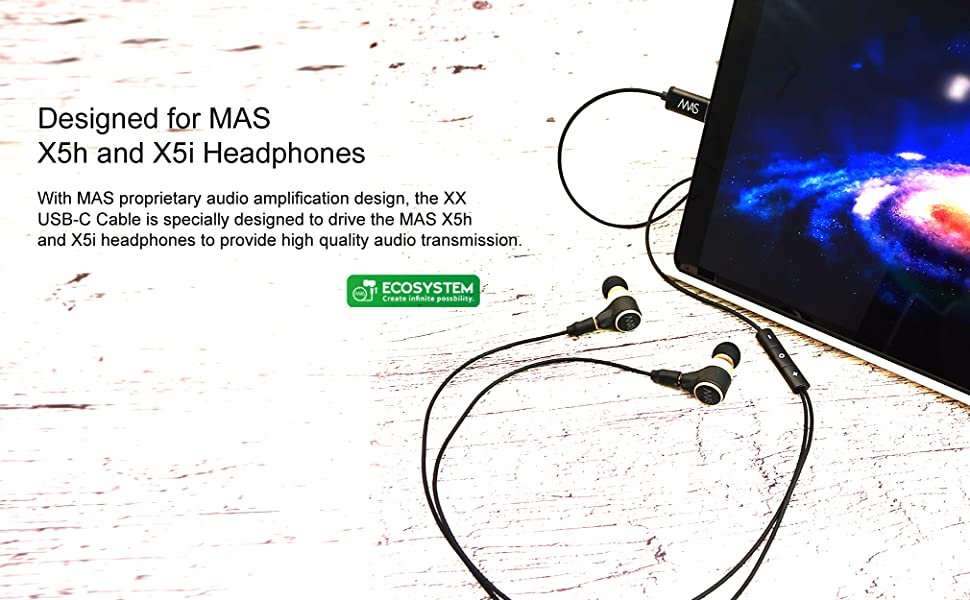 mas audio science xx usbc typec mmcx detachable cable android x5i x5h ecosystem mobile hires