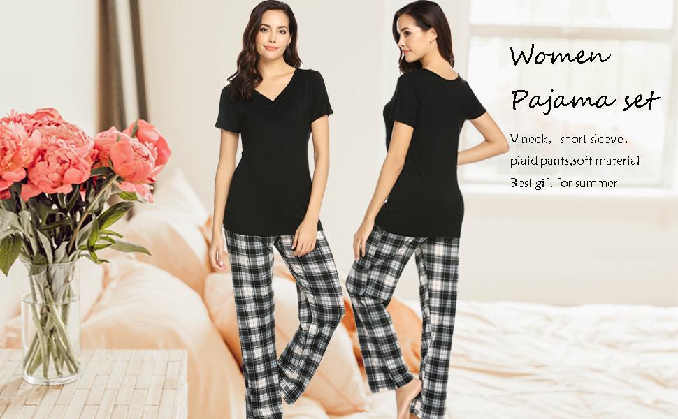 Hotouch Womens Pajama Set Short Sleeve Tops and Pants Cute Pjs Sets O Neck Plaid Pajama S-XXL