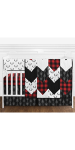 Woodland Buffalo Plaid Baby Boy Nursery Crib Bedding Set without Bumper - 5 pieces - Red and Black