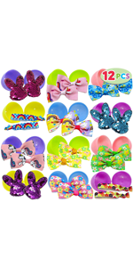 12 PCs Prefilled Easter Eggs with Hair Bows and Grosgrain Ribbon