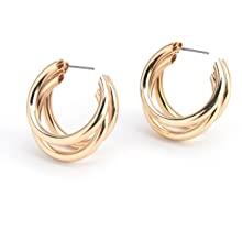 Allison Rose Atelier Women's Gold Plated Medium Thick Hoop Tube Earrings | Three Strands