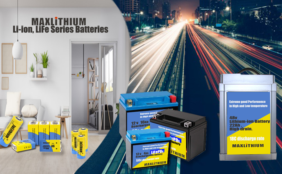 MAXLITHIUM rechargeable lithium series products