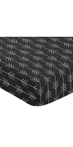Woodland Arrow Boy Fitted Crib Sheet Baby or Toddler Bed Nursery - Black and White