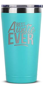 Best Auntie Ever - 16 oz Mint Insulated Stainless Steel Tumbler w/Lid for Women